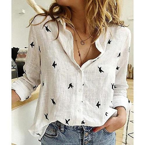 Print cotton woman blouse