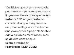 Provérbios 12.19-20,22