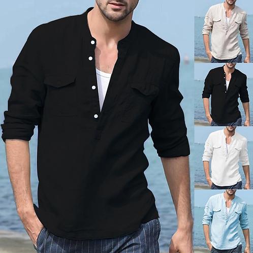 Casual zomer heren katoenen blouse