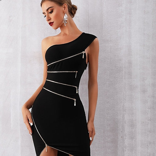 One Shoulder Zipper Black Dress