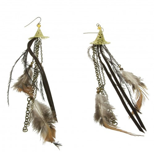brown feather earing