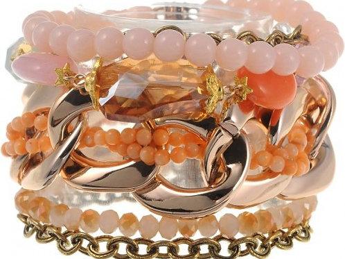 Peach boho armband
