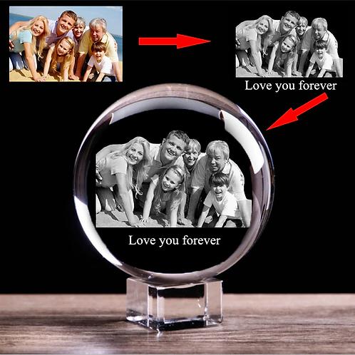 gepersonaliseerd Foto in Glass bol gegraveerd ( met text )