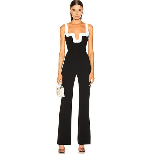 Patchwork Backless Jumpsuits