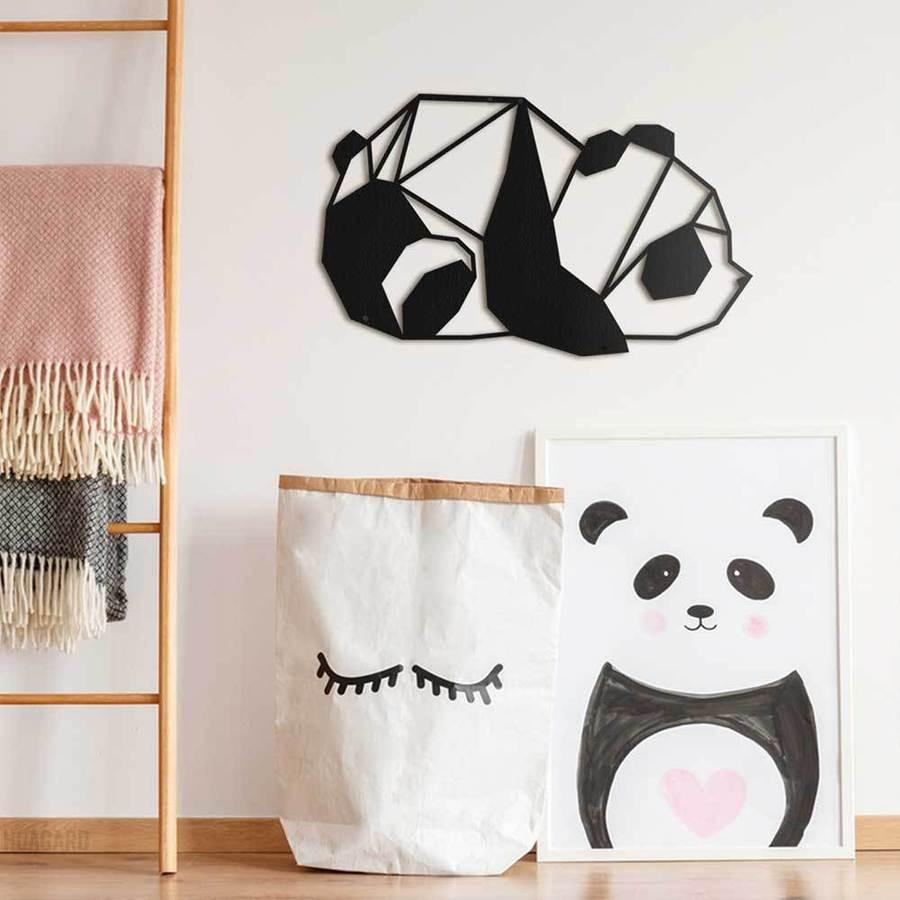Panda puidust seinale dekoor