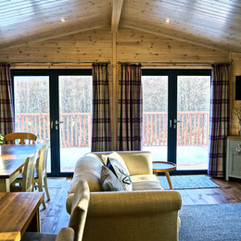 Wildwood cabin open plan living room log burner