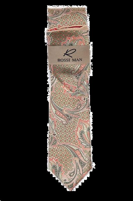 RMR009-5 Coral & Beige Paisley Tie