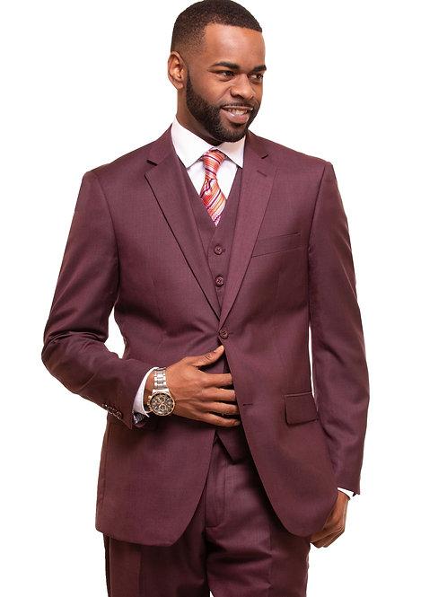 M3090 Burgundy 3 Piece Suit