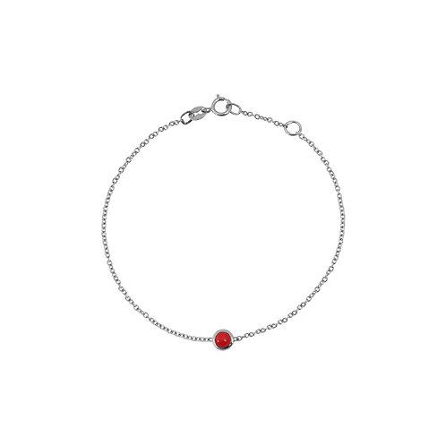 Bracelet chaîne en argent 925 & pierre