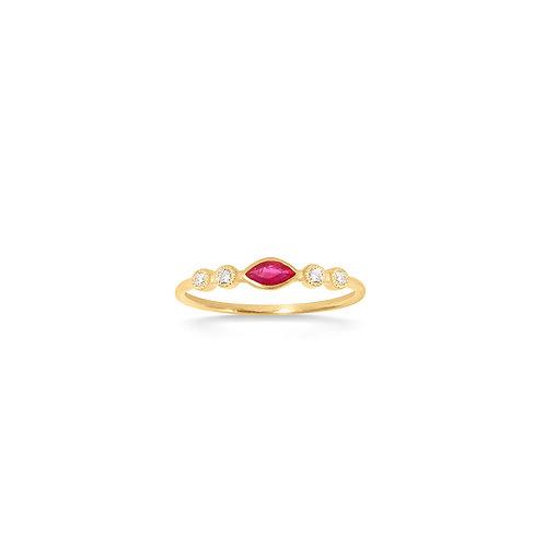 Bague en or vintage 18k, rubis & diamants