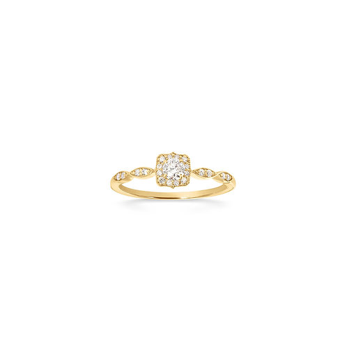 Bague solitaire vintage en or jaune 18k & diamants