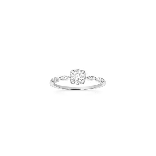Bague solitaire vintage en or blanc 18k & diamants