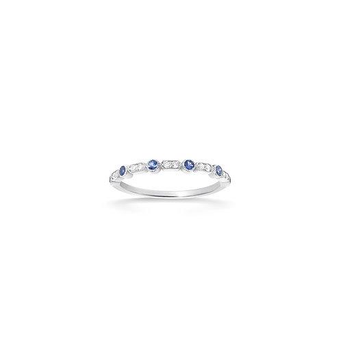 Bague en or 18k, diamants & saphirs