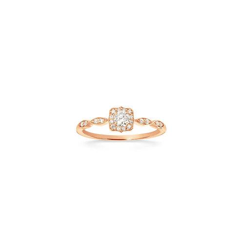 Bague solitaire vintage en or rose 18k & diamants