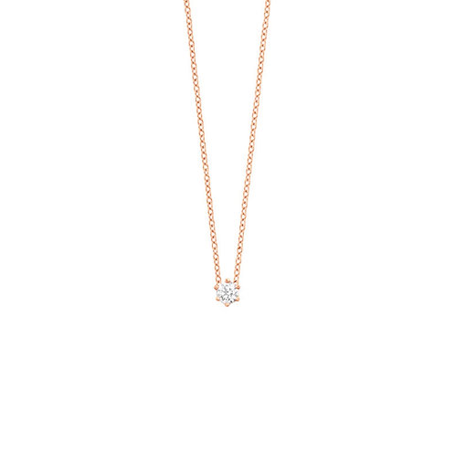 Collier en or rose 18 k & diamant