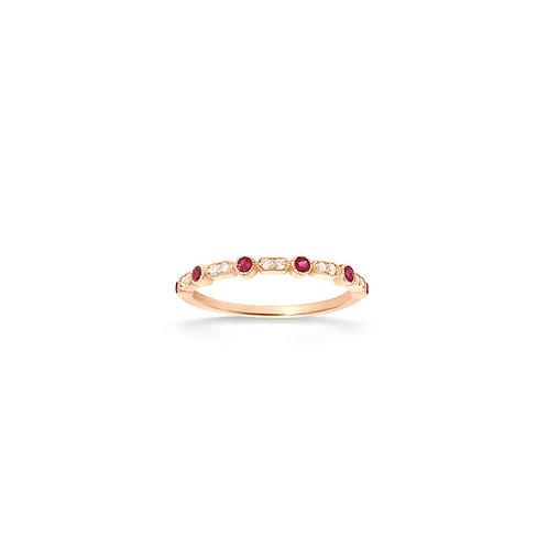 Bague en or 18k, diamants & rubis