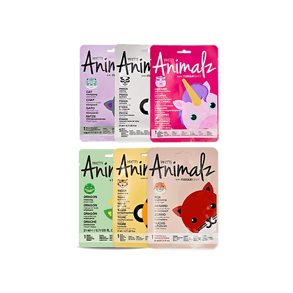 LOT DE 6 MASQUES EN TISSU - PRETTY ANIMALZ