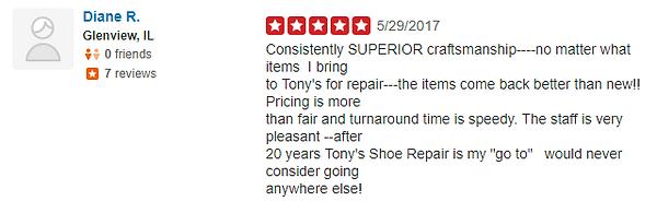 Tony's Shoe Repair Yelp Review