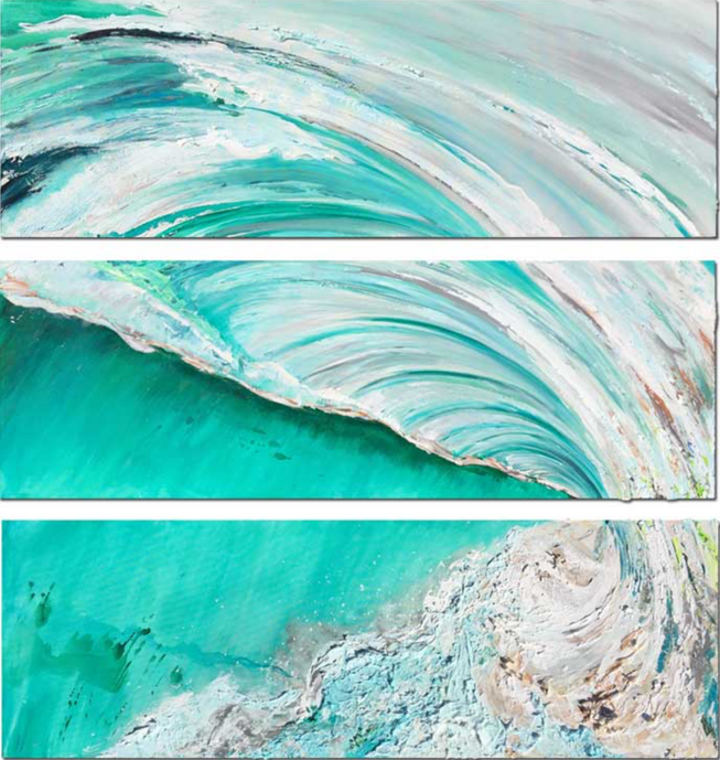 """Kalalau Landing"" 60 x 65 in. triptych original mixed media on canvas."