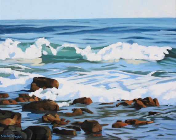 """""""Evening Breakers"""" 24 x 30 in. original acrylic on canvas.  SOLD"""