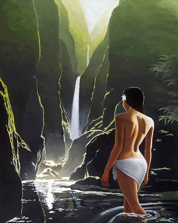 """Hidden Waterfalls"" 24 x 30 in. original oil on canvas."
