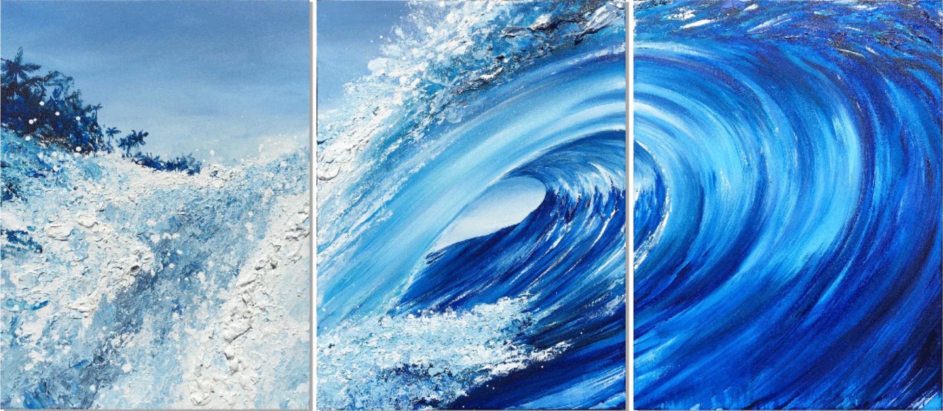 """Polu"" 96 x 40 in. triptych original mixed media on canvas."