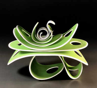 """""""The Unfurling"""" 8 x 7 x 12 in.  original porcelian sculpture."""
