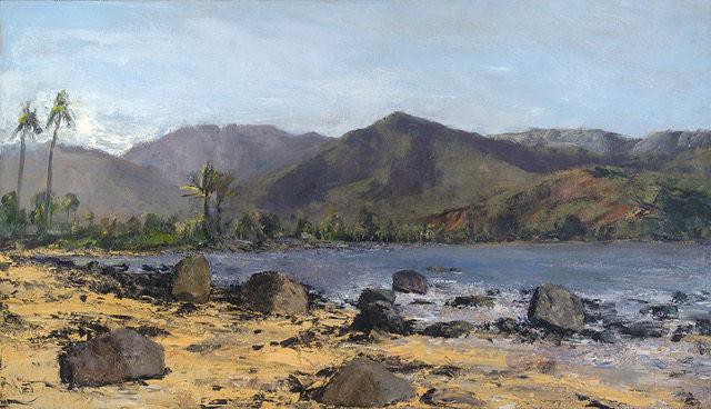 """Mamalahoa, Hihimanu and Nanolokama"" 28 x 48 in.  original oil on canvas."