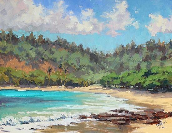 """""""Moloaa Bay"""" 11 x 14 in.  original oil on linen board.  SOLD"""
