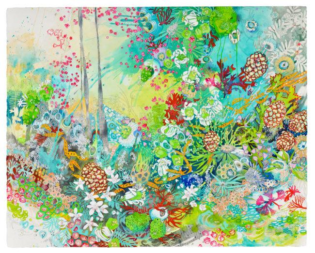 """Papaya Non-Native Non-Invasive"" 36 x 45 in. mixed media on watercolor paper"