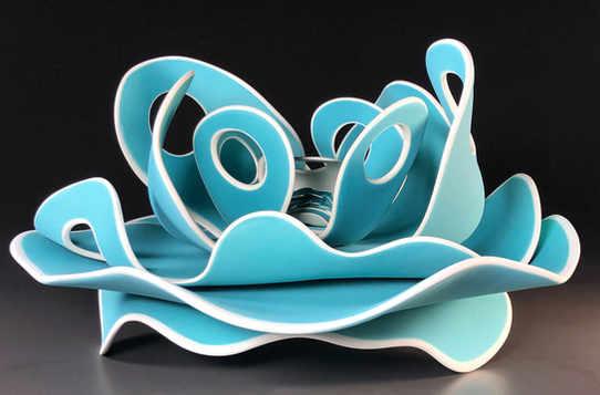 """Homage to Shelf Coral"" 8 x 16 x 16 in.  original porcelian sculpture."