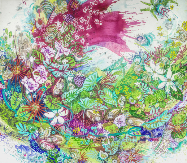 """Hawaiian Pearl"" 39 x 45 in.  mixed media on watercolor paper"