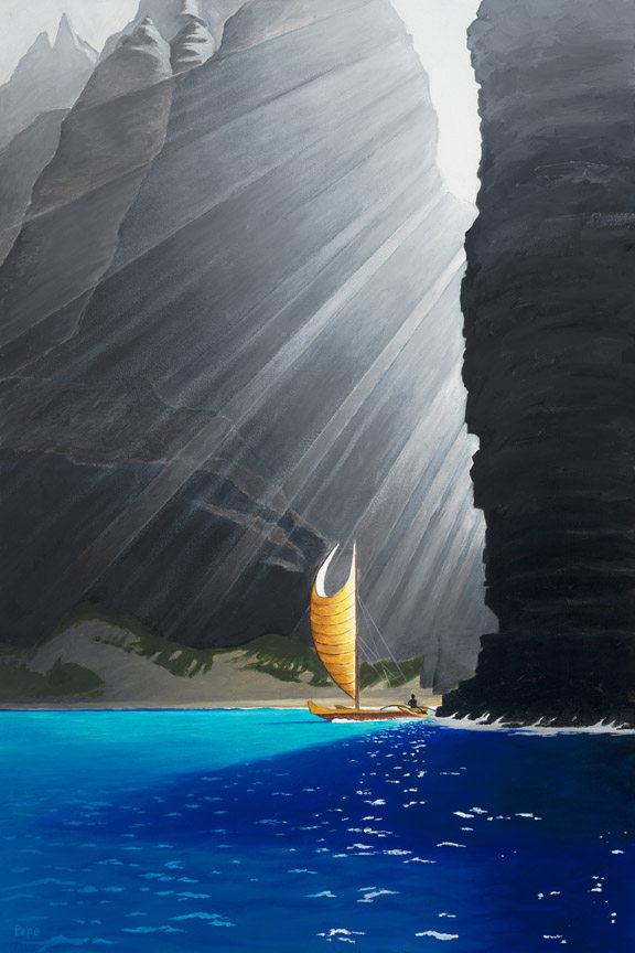 """Honopu Sail"" 20 x 30 in. original oil on canvas."