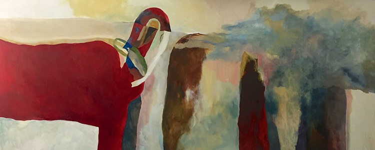 """We Will Communcate Directly with Nature"" 24 x 60 in.  original oil on canvas."