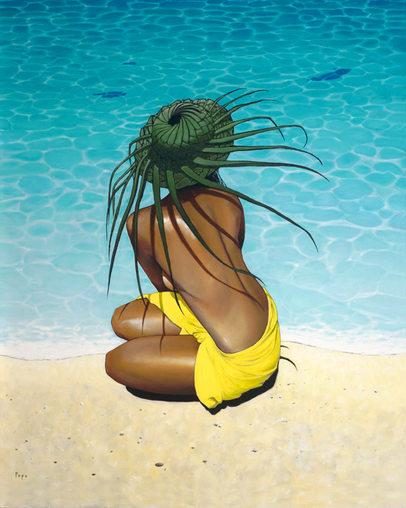 """Coco Hat"" 24 x 30 in.  original oil on canvas."