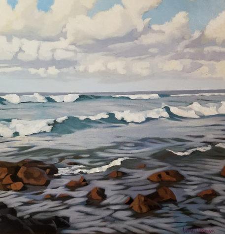 """Moody Poipu Morning"" 30 x 30 in.  original acrylic on canvas."