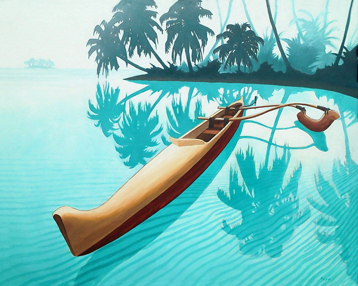 """""""Tahitian Outrigger"""" 18 x 24 in.  original oil on canvas."""