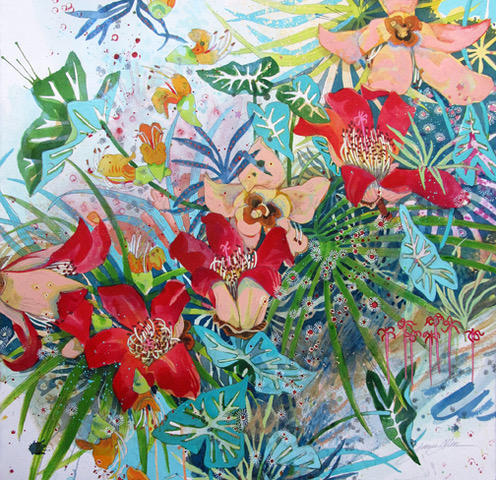 """""""Foster Gardens"""" 22 x 22 in. original mixed media on paper."""