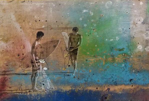 """Celestial Surfers""  11.5 x 16.5 in. original oil on wood panel"
