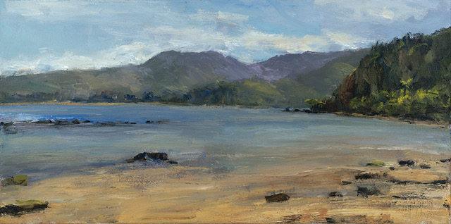 """Hanalei Golden Sunset"" 17 x 34 in.  original oil on canvas."