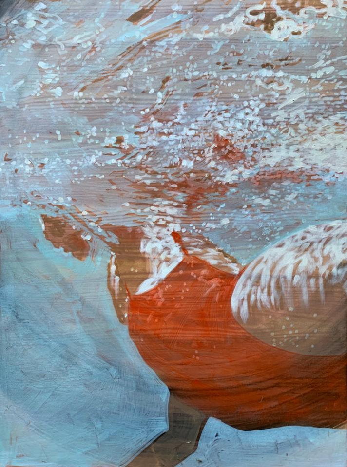 """Undercurrents""  30 x 22.5 in.  original acrylic and oil on hand wood-grained paper"