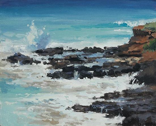 """Poipu Coast""  8 x 10 in.  original oil on linen board.  SOLD"