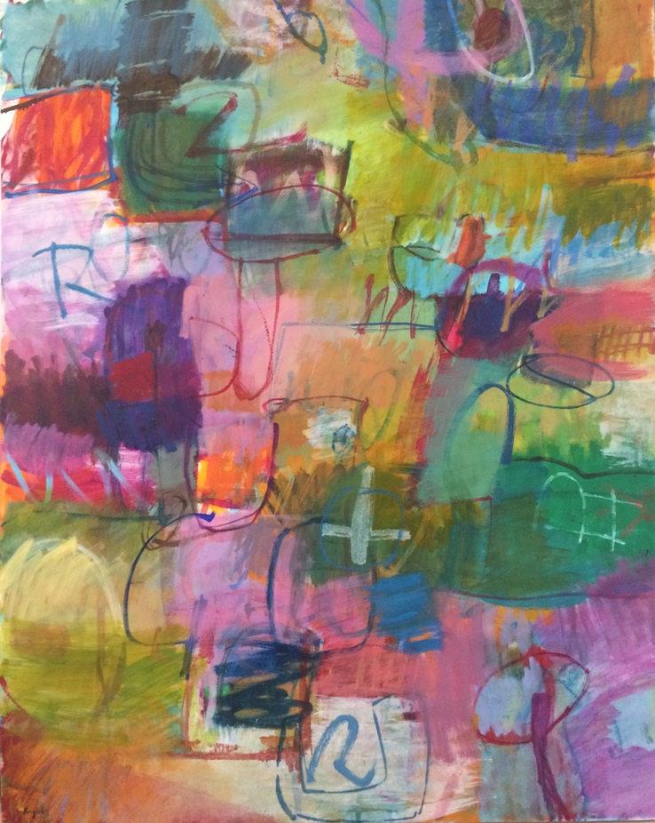 """""""Garden Life""""  60 x 48 in.  original acrylic on canvas."""
