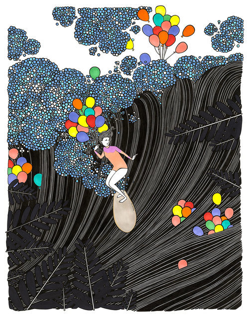 """""""Carnival Balloons"""" 33 x 27.5 in.  original pen, ink and watercolor on paper."""