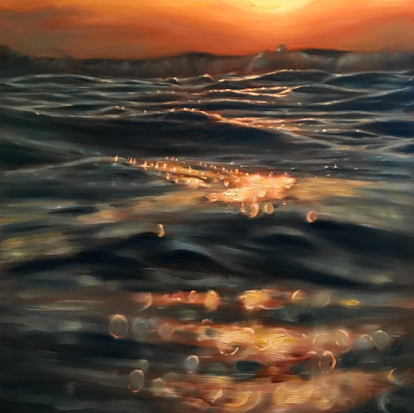 """""""Rocky Point 44"""" 20 x 20 in.  original oil on wood panel."""