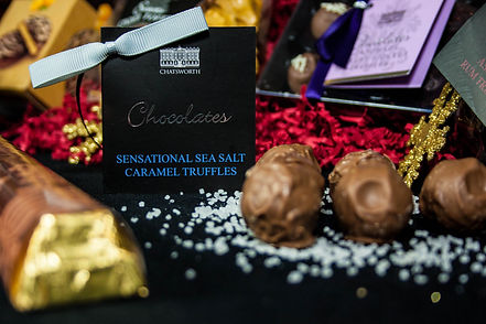 ellie bell photography, chatsworth, hamper, chocolate, sea salt, sea salt caramel truffles, chocolate truffles