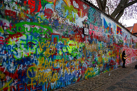 ellie bell photography, prague, czech republic, old town, john lennon, wall, graffiti, busker, guitar