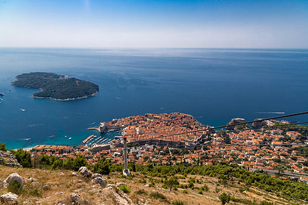ellie bell photography, dubrovnik, old town, view, sea, lokrum island, cable cars, mountain, adriatic sea, ocean, coast