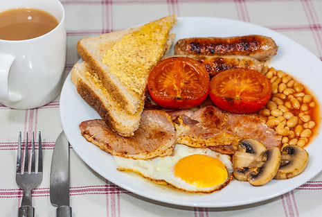 ellie bell photography, food photography, full english, sausage, bacon, egg, toast, butter, tomato, mushrooms, baked beans, fried egg, egg, english, tea, breakfast