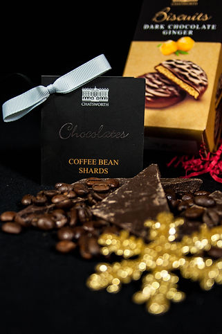 ellie bell photography, christmas, christmas photography, product photography, chocolate, coffee, coffee bean shards, dark chocolate ginger biscuits, biscuits, chatsworth